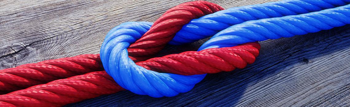 Knoten rot-blau